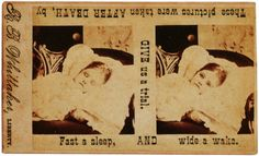 """Fast Asleep and Wide Awake"" Advertisement card for the postmortem photography services of R. B. Whittaker, Liberty, New York, circa 1860."