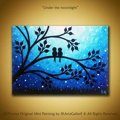 Liefde vogels schilderij Mini Canvas kunst Nightscape