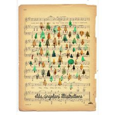 Music sheet/ trees/ woods/ watercolors illustrations// http://eldacingolani.tumblr.com/