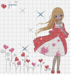 girl and heart Cross Stitch For Kids, Cute Cross Stitch, Counted Cross Stitch Patterns, Cross Stitch Designs, Cross Stitch Embroidery, Stitch Doll, Christmas Embroidery Patterns, Cross Stitch Needles, Flower Crafts