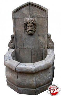 Wandbrunnen mit Männerkopf, Gartenbrunnen, Wasserbecken, Brunnen, Steinbrunnen