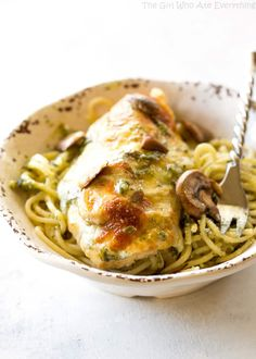 Share Tweet Pin Mail This Pesto Mushroom Chicken is breaded in buttery breadcrumbs and topped with pesto, mushrooms, and provolone cheese. So impressive and ...
