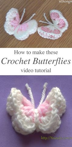 This free video tutorial will teach you how to make a beautiful multicolored crochet butterfly that you can use as an embellishment! There are various objects you use everyday that can use some croche Crochet Butterfly Free Pattern, Crochet Flower Patterns, Crochet Flowers, Crochet Leaves, Quick Crochet, Crochet Trim, Free Crochet, Crochet Hooks, Crochet Buttons