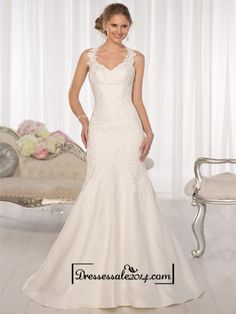 Straps Fit and Flare Sweetheart Lace Wedding Dresses with Low Open Back