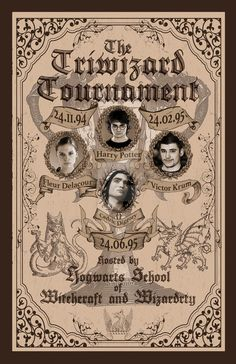 I always wanted to see a poster for the Triwizard Tournament. I always thought that would be a huge event for the witch and wizarding folk in the land o. Triwizard Tournament from Goblet of Fire Poster Harry Potter Journal, Harry Potter Poster, Harry Potter Collage, Harry Potter Newspaper, Harry Potter Background, Harry Potter Tumblr, Harry Potter Diy, Natal Do Harry Potter, Images Harry Potter