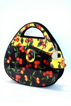 Vintage 1980's Angela Frascone Lucite Resin CHERRIES painted Handbag