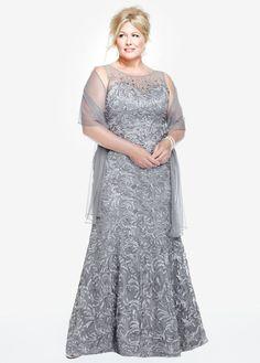 Sleeveless Illusion Neckline Soutache Dress - David's Bridal