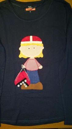 A Aida le encanta patinar y sin saberlo le hice esta camiseta.