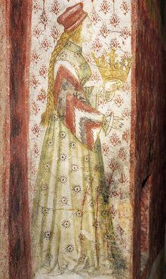 "Margarete Maultasch (""Satchel-mouth""),Countess of Tyrol a mural… Medieval Paintings, Renaissance Paintings, Medieval World, Medieval Art, Renaissance Fashion, Italian Renaissance, Tempera, Fernando Iii, Fresco"