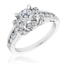 Reeds Round Diamond White Gold Engagement Ring 1 1/3ctw ($2,800) ❤ liked on Polyvore