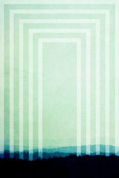 Art Deco Geometric art print landscape home decor jade teal inky blue mint green - in a mist. I think I really like this etsy shop - JaneRovers.