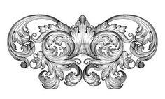 antique: Vintage baroque défilement leaf frame ornement floral Gravure frontière rétro modèle tourbillon de style ancien élément de design décoratif vecteur de filigrane noir et blanc