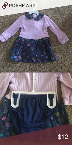 2 piece Outfit (dress & ruffle bottom) Purple long sleeve dress.  Has jean collar and jean skirt bottom with yellow, purple, and green hearts).  Top has 3 button back.  Bottom is jean and has elastic around legs WONDERKIDS Matching Sets
