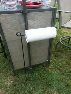 Use a flag holder to hold your paper towels while enjoying a cookout or while gathered around a bonfire.