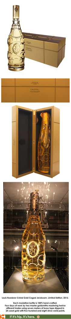 Louis Roederer Cristal Gold Caged Jeroboam, Limited Edition, 2012. Each medallion bottle is 100% hand-crafted. Four days of work by two master goldsmiths mastering twelve different trades using seven meters of brass tape dipped in 24 carat gold with five hundred and eight silver-weld points.