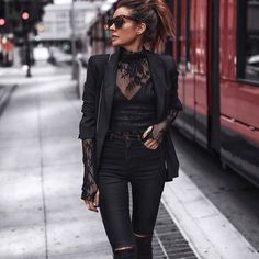 autumn winter fashion trends lace black lace evening wear - The world's most private search engine Heutiges Outfit, Lace Outfit, Lace Dress, Mode Outfits, Fashion Outfits, Fashion Trends, Fashion Styles, Rock Chic Outfits, Woman Outfits