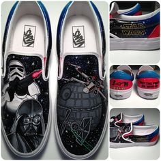 These are a pair of hand painted Vans shoes inspired by Star Wars. These shoes were commissioned and are just an EXAMPLE of what can be done. These
