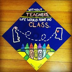 I am an elementary teacher education major and this was my cap for my college graduation!  I used the cap as a canvas with acrylic paint (to help the colors standout, use white paint first as a base)!  The crayon box was used to incorporate everything I was or was going to be involved in while on campus and after graduating.