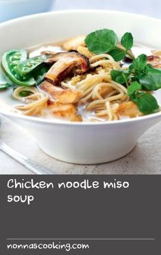 Chicken noodle miso soup |      Everybody loves a warming bowl of chicken soup. This soup flavoured with miso is perfect for a light healthy lunch. This meal is low calorie and provides 331 kcal, 26g protein, 42g carbohydrate (of which 3.3g sugars), 6.7g fat (of which 1.5g saturates), 4g fibre and 1.4g salt per portion.