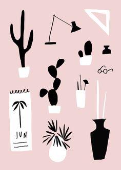 Illustrated by mercedes leon @merchesico #illustration #cactus #plants