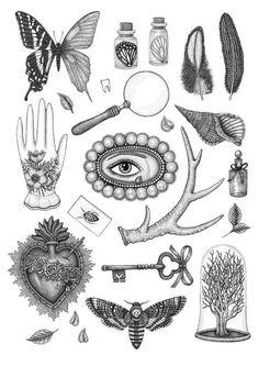 Items similar to Curiosities & Trinkets - Victorian Curiosities Print - Taxidermy Entomology Print - Deaths Head Moth - curiosity cabinet - Antiques Print on Etsy Antique Tattoo, Victorian Tattoo, Victorian Style Tattoos, Vintage Tattoo Art, Hand Tattoos, Small Tattoos, Sleeve Tattoos, Key Tattoos, Tattos