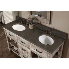 Rustic Style 60-inch Double Sink Bathroom Vanity #designbathroom