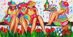 Vrolijk Schilderij Picknick Dames