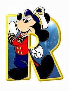 Alfabeto de personajes Disney con letras grandes.