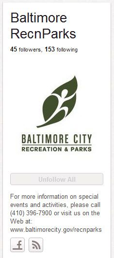 Baltimore Recreations and Parks http://pinterest.com/recnparks/