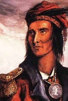 """Charismatic Shawnee chieftain, Tecumseh, """"Shooting Star"""". Pledge to protect Native traditions & territory aware once their land was lost, their freedom would follow. opposiing  the sale of land from his belief that no Native or tribe, had a right to sell- give land without consent of all Aboriginals. Tecumseh was the ideal Indian chief. From Piqua Clan, intelligent, courageous, eloquent, concise & impressive, he was stand-firm chief focussed more on people than things."""