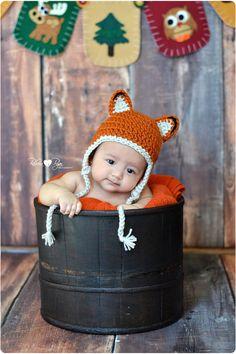 Little Fox Baby Hat Newborn Earflap Beanie by BabyBearHats on Etsy, $28.00