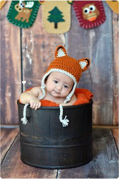 Little Fox Baby Hat Newborn Earflap Beanie by BabyBearHats on Etsy, $28.00