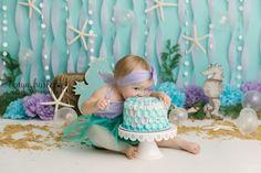 How to do a Mermaid Cake Smash, Raleigh - Tonya Hurter Photography First Birthday Girl Mermaid, Mermaid Birthday Cakes, Girl Birthday Themes, Little Mermaid Cakes, Little Mermaid Parties, Baby Mermaid, Baby Cake Smash, Birthday Cake Smash, 1st Birthday Photoshoot