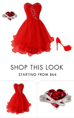 """""""Lady in red"""" by victoriamead96 ❤ liked on Polyvore featuring Nly Shoes, red and reddress"""