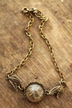Dandelion wish bracelet real dandelion seeds by RubyRobinBoutique