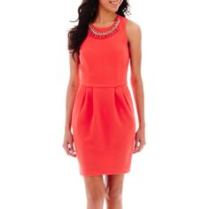"""<p>Solidify your style maven status in our sharp, textured dress, featuring a beautiful tonal necklace and front pockets.</p><div style=""""page-break-after: always;""""><span style=""""display: none;"""">"""