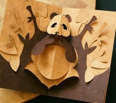 This Kirigami of an adorable panda eating bamboo in the forest, is easy and fun to make.