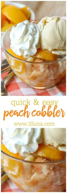 Our FAVORITE Peach Cobbler recipe! Easy to make and super yummy! Add some ice cream and cool whip and you're set!
