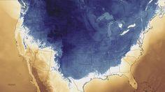 Thursday, Nov. 13, 2014 - map showing arctic blast hitting the USA. Blue shades indicate sub-freezing temperatures.