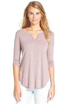 Free shipping and returns on Elodie Notch Neck Lightweight Henley Top (Juniors) at Nordstrom.com. This comfy henley top has a sweet touch of cotton lace at the split neck and a yoke defined by raw-edge trim.