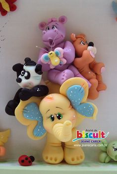 Cute animals - cake topper or could be polymer figures Polymer Clay Figures, Cute Polymer Clay, Polymer Clay Animals, Cute Clay, Polymer Clay Crafts, Fondant Animals, Fondant Cake Toppers, Clay Baby, Clay Figurine