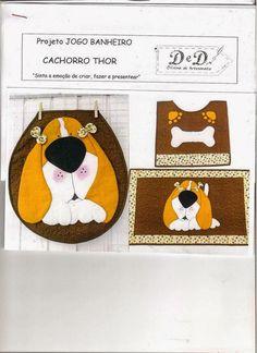 Art's D Ateliê: Jogo de Banheiro Cachorro