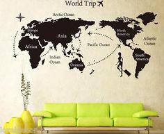 Interesante pegatina decorativa en forma de mapa mundi de viaje. Sin duda muy original propuesta.
