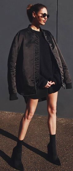 black on black | bomber jacket + sweater dress + boots