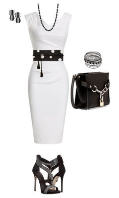 A fashion look from March 2018 featuring Alexander Wang handbags and Lele Sadoughi earrings. Browse and shop related looks. Classy Dress, Classy Outfits, Chic Outfits, Beautiful Outfits, Fashion Wear, Work Fashion, Fashion Dresses, Womens Fashion, Fashion Beauty