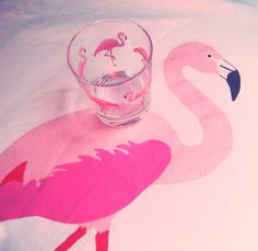 Pink flamingo glass, IKEA x2 -except fm broke one then went on to break the other-ThankS!