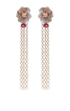 Shop Convertible Multi-Stone Tasseled Flower Earrings by Wendy Yue Now Available on Moda Operandi