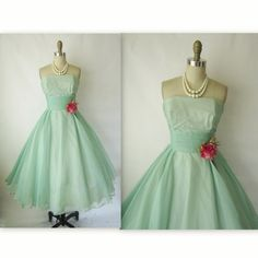 50's Prom Dress // Vintage 1950's Seafoam by TheVintageStudio