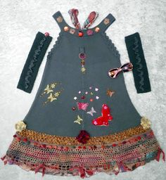 Wonderful knitted summer dress with butterflies and accessories