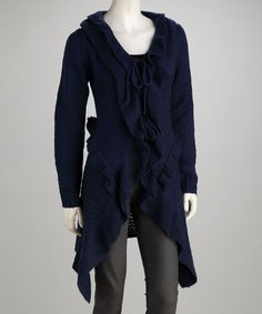 Take a look at this Michael K Navy Knit Wool-Blend Long Sidetail Cardigan on zulily today!
